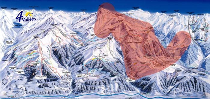 Det röda området markerar det som till vintern blir Verbier Grand Ski.