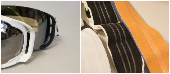 Outriggers kom till för att ge bättre passform med hjälmar, och silikon på bandet ger bättre grepp på densamma.
