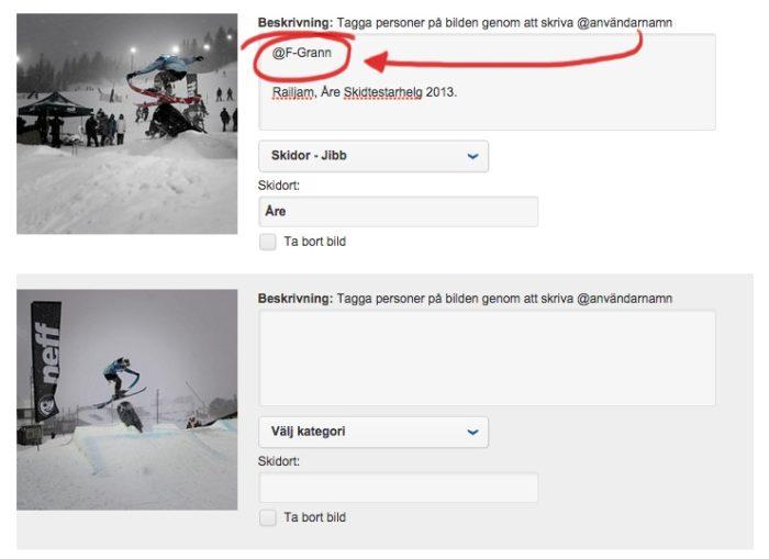 Ladda upp flera bilder samtidigt och tagga andra användare.