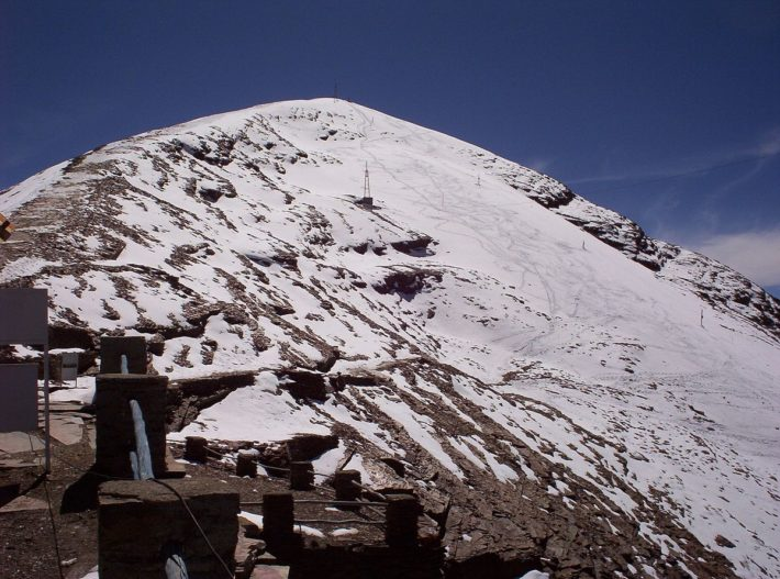 Chacaltaya 2005, innan glaciären hade smält bort helt.