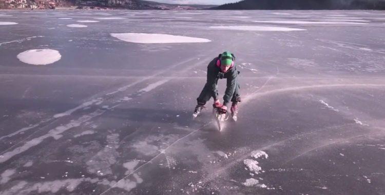 Erik Sunnerhein skär upp isen istället för berget