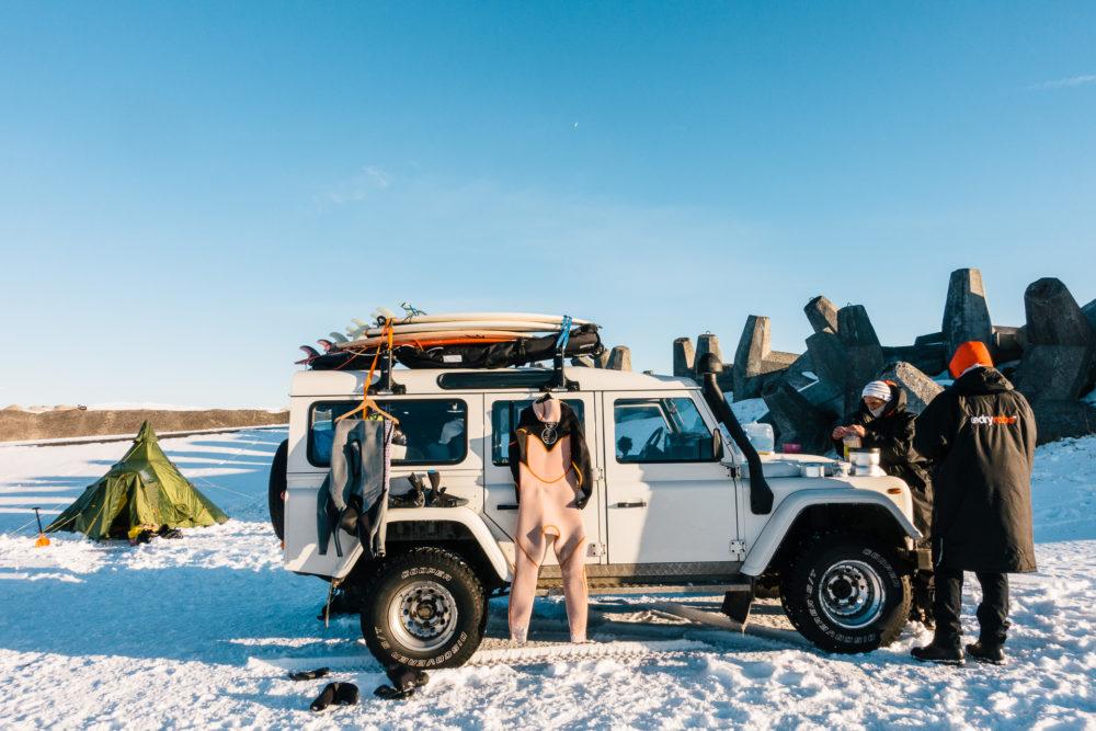 Campsite på Island i kallt klart väder