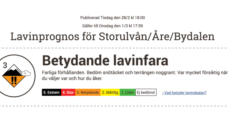 Femgradiga lavinskalan stoppas i Åre, Ramundberget och Abisko.