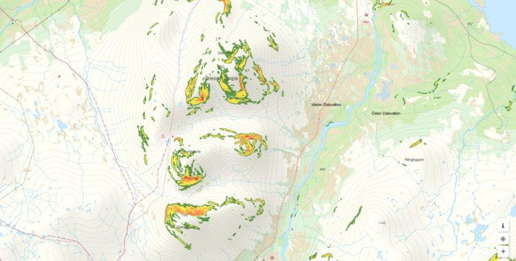 Snaasahögarna, Tväråklumparna och Getryggen är populära turer vid Storulvån utanför Åre. Dagliga prognoser om lavinläget from idag.