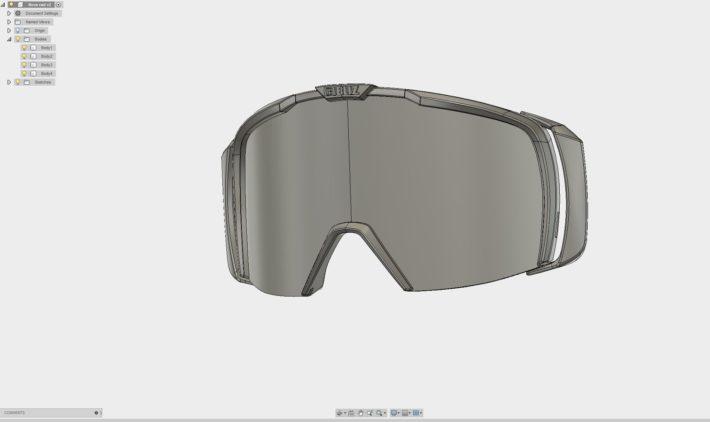 En bild på en CAD-fil av Bliz Eyewears nya gogglemodell NOVA: