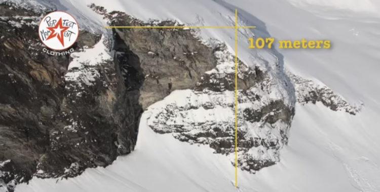 107 meter mätte hopet som Fred ofrivilligt tvingades droppa.