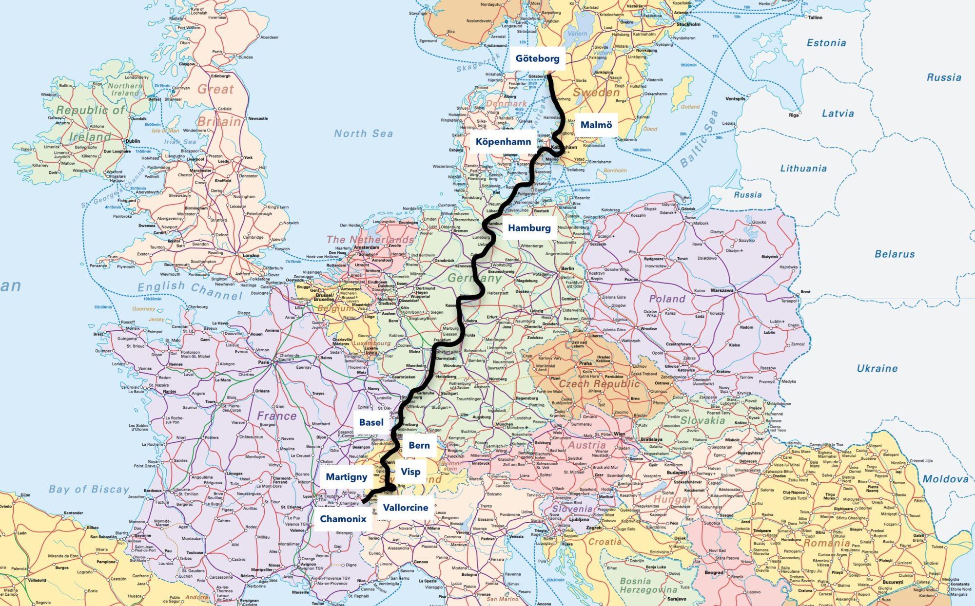 Karta Tyskland Tag.Att Ta Taget Fran Sverige Till Chamonix Freeride