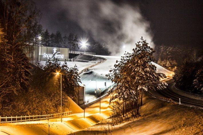 Kvällsvy från Snow Arena Druskininkai.