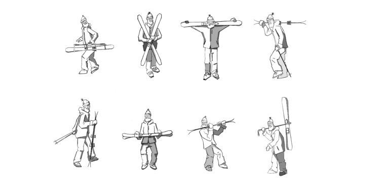 Att bära skidorna är en konst, här är 8 möjliga sätt men bara ett riktigt bra.