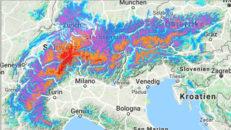 Nära 1,5 meter snö på väg mot Schweiz och Alperna