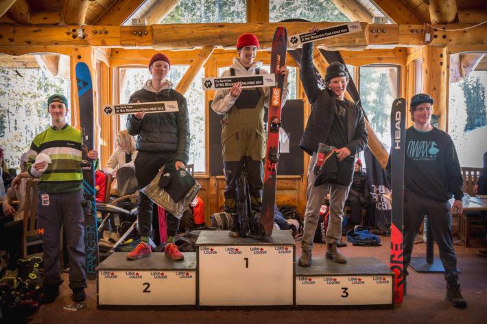 Nils på pallen efter 2019 Lake Louise Big Mountain Challenge IFSA Junior National.