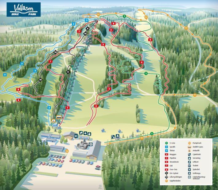 Ledkarta Vallåsen Bike Park