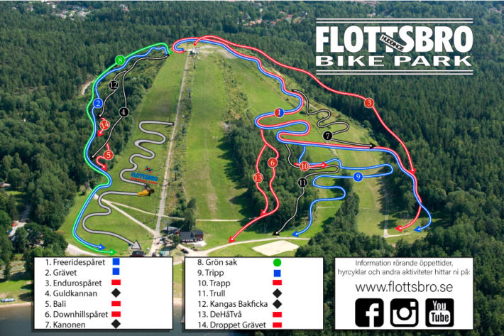 Ledkarta Flottsbro Bikepark