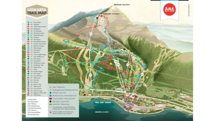 Ledkarta över Åre Bike Park