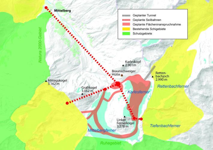 Ritning över det planerade bygget på Pitztal-Ötztal-glaciären.