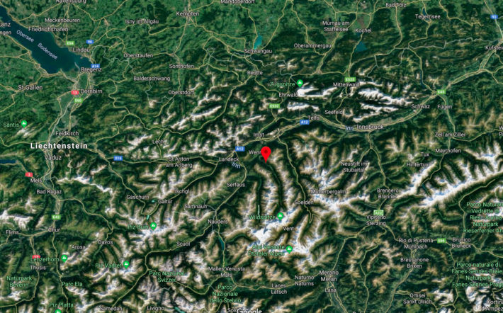 En kartbild över Pitztal, Österrike.