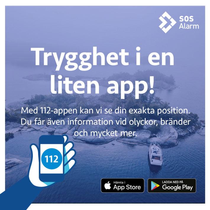 Reklambild för SOS Alarms nya app