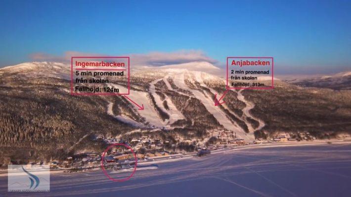 Ingemar- och Anjabacken utsatta på en karta.