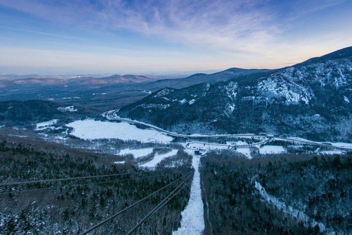 Utsikt över Cannon Mountain i New Hampshire.