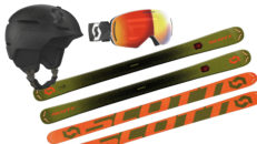 Vinn skidor, hjälm och goggles från SCOTT