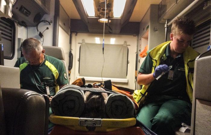 Första av många ambulansturer den helgen