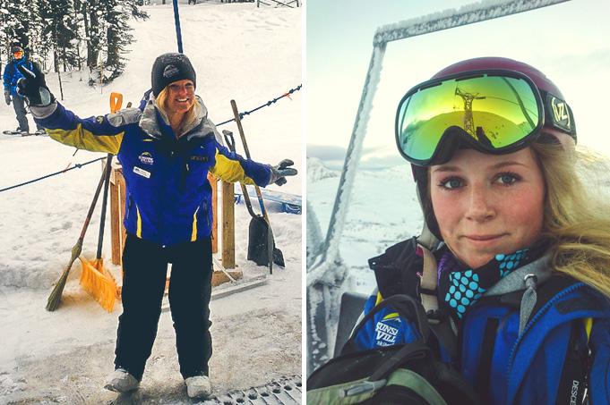 Jag jobbade som liftvakt i Sunshine Village i Banff. Australiensiska Sarah till vänster, jag till höger