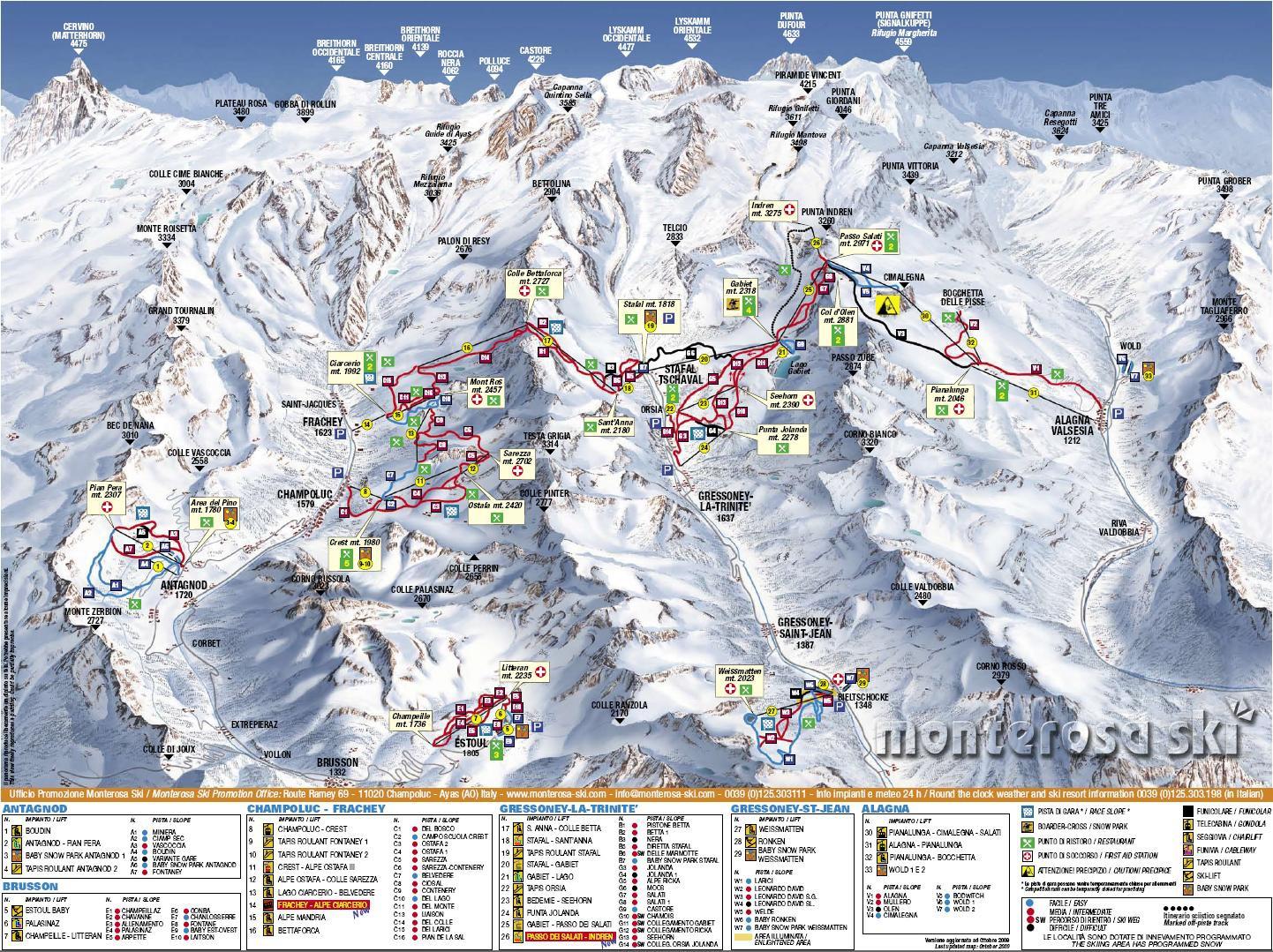 karta italien skidorter Alagna Pistkarta   Freeride karta italien skidorter
