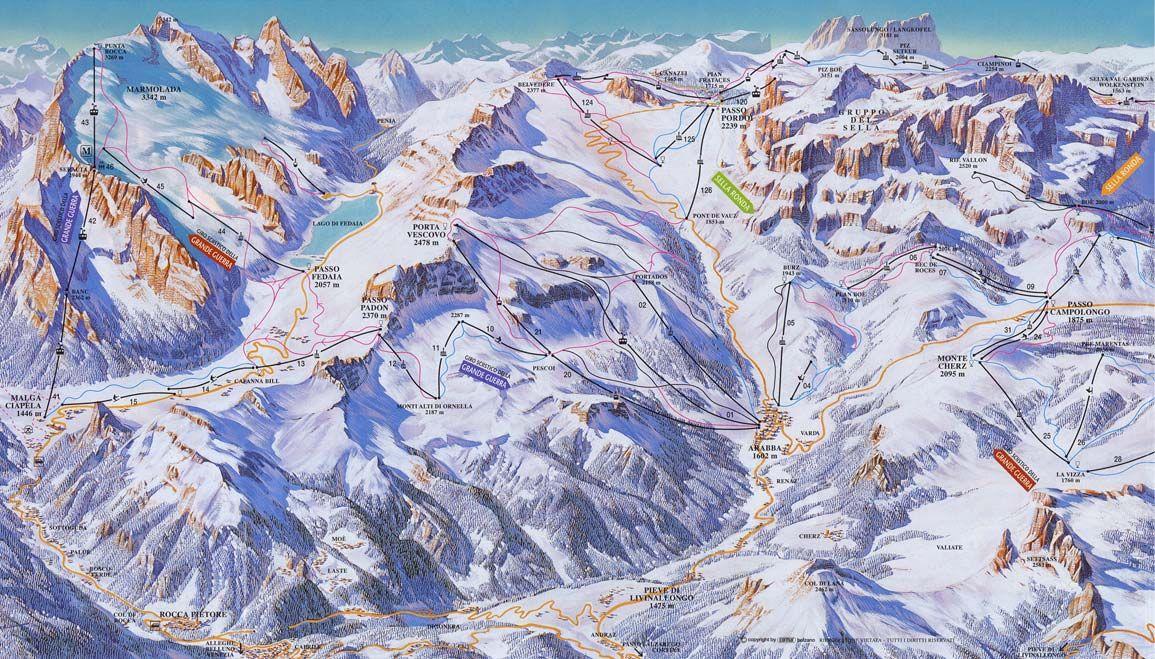 karta italien skidorter Arabba Pistkarta   Freeride karta italien skidorter